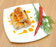 Stuffed chicken rolls, chili and dill twig on a white plate Stock Image
