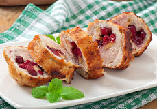 Chicken rolls with cranberries Stock Photos