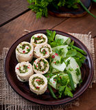 Chicken rolls with greens and fresh vegetable salad Royalty Free Stock Images