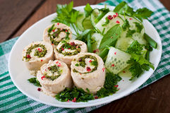Chicken rolls with greens and fresh vegetable salad. Steamed chicken rolls with greens and fresh vegetable salad on a white plate Stock Photography