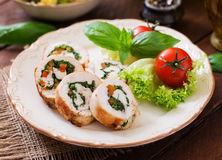 Chicken rolls with greens Royalty Free Stock Image