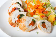 Chicken rolls with ratatouille Royalty Free Stock Photography