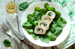 Chicken rolls with spinach Stock Images