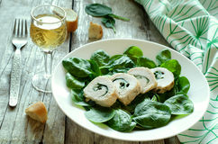 Chicken rolls with spinach Royalty Free Stock Photography