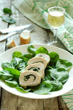 Chicken rolls with spinach Stock Photos