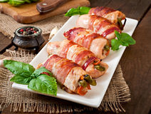 Chicken rolls stuffed with green beans Royalty Free Stock Photos
