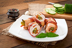 Chicken rolls stuffed with green beans Royalty Free Stock Photo