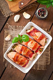 Chicken rolls stuffed with green beans Royalty Free Stock Photography