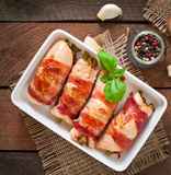 Chicken rolls stuffed with green beans Royalty Free Stock Image