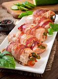 Chicken rolls stuffed with green beans Stock Images