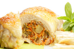 Chicken rolls with vegetables against white Royalty Free Stock Photos