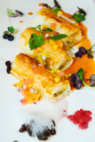 Chicken rolls wrapped in pastry with fruit salad Stock Photography