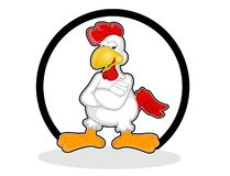 Chicken rooster cross hand posed cartoon style vectors. Chicken rooster animal funny cartoon cross hand cool white drunk beer royalty free illustration