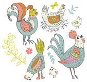 Chicken and rooster cartoon Royalty Free Stock Images