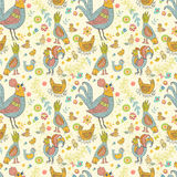 Chicken and rooster cartoon seamless pattern Royalty Free Stock Photos