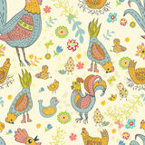 Chicken and rooster cartoon seamless pattern Stock Images