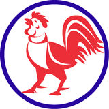 Chicken Rooster Crowing Circle Retro stock illustration