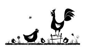 Chicken and rooster. Domestic fowl. Farm animals. Rural landscape. Vector silhouettes on the white background Stock Photography