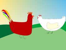 Chicken and rooster drawing. Vector art illustration; more drawings in my gallery Royalty Free Stock Photography