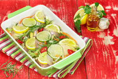 Chicken with rosemary and lemon Royalty Free Stock Image
