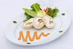 Chicken Roulade. Chicken stuffed with asparagus and cream cheese stock images
