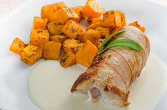 Chicken Roulade with baked pumpkin Stock Photos