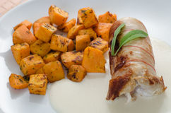 Chicken Roulade with baked pumpkin Royalty Free Stock Images
