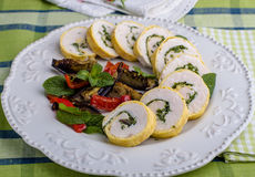 Chicken roulade. And grilled vegetables on a beautiful plate Stock Photo
