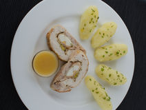 Chicken roulade with herb potatoes Royalty Free Stock Photo