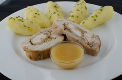 Chicken roulade with herb potatoes Royalty Free Stock Photos