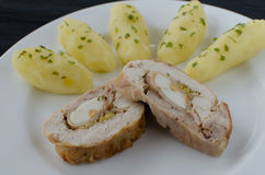 Chicken roulade with herb potatoes Royalty Free Stock Images