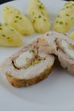 Chicken roulade with herb potatoes Royalty Free Stock Photography