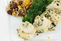 Chicken Roulade and  Pilaf Royalty Free Stock Photography
