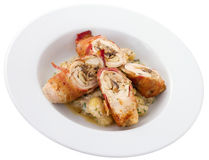 Chicken Roulade Plate. Chicken bacon roulade, chicken breasts, pounded thin, stuffed with bacon, shallots, and Parmesan, rolled up, browned, roasted, then served Royalty Free Stock Photo