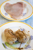 Chicken roulade prepared with slices of chicken breast Royalty Free Stock Images