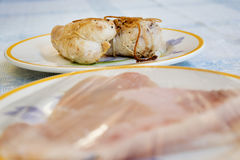 Chicken roulade prepared with slices of chicken breast Royalty Free Stock Photography