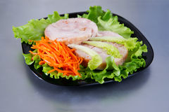 Chicken roulade on salad Royalty Free Stock Images