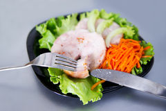 Chicken roulade on salad. Stock Photo