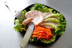 Chicken roulade on salad. Royalty Free Stock Images