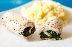 Chicken roulade with spinach Royalty Free Stock Image