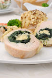Chicken roulade stuffed with spinach and cheese Royalty Free Stock Photo