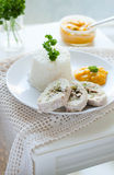 Chicken roulade with sweet peas Stock Images