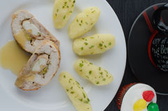 Chicken roulade with tea and muffin Royalty Free Stock Images