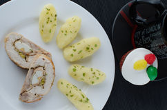 Chicken roulade with tea and muffin Royalty Free Stock Image