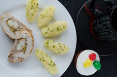 Chicken roulade with tea and muffin Royalty Free Stock Photos