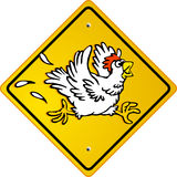 Chicken run. Funny hen shield Royalty Free Stock Photos
