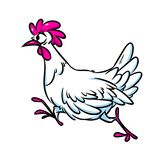 Chicken run cartoon illustration Royalty Free Stock Image