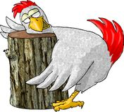 Chicken's last rites. This illustration that I created depicts a chicken with its head on a chopping block royalty free illustration