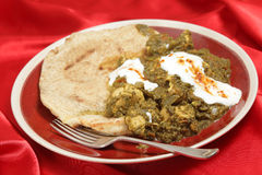 Chicken saag with bread and yoghurt Stock Photography
