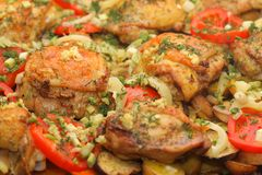 Chicken Salad. Spice baked chicken legs meat with cherry tomatoes Royalty Free Stock Photos